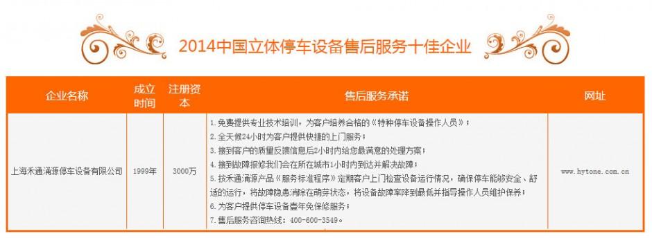 2014中国立体停车设备售后服务十佳企业